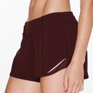 "NWOT! RARE Lululemon Hotty Hot shorts 4"" s2 garnet"